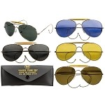 Aviator Style Sunglasses with Military Printed Case and Box