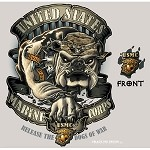 USMC Bulldog Military Graphic Tee in Tan