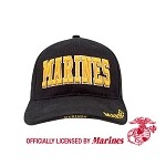 Deluxe Black Low Profile Cap - with Gold Marines