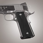 1911 Govt. G10 Magrip Kit Checkered Flat Solid Black