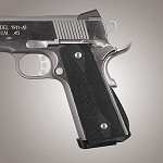 1911 Govt. G10 Magrip Checkered Arched Solid Black