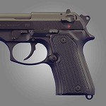 Beretta 92 Compact G10 Checkered Solid Black