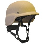 Tan PASGT Helmet with Integrated Face Shield Fittings